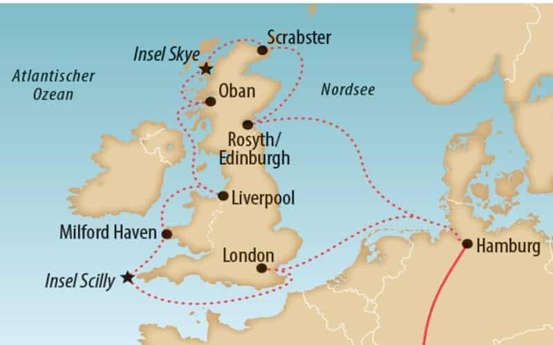 Karte Grossbritanien Mit Reiseroute