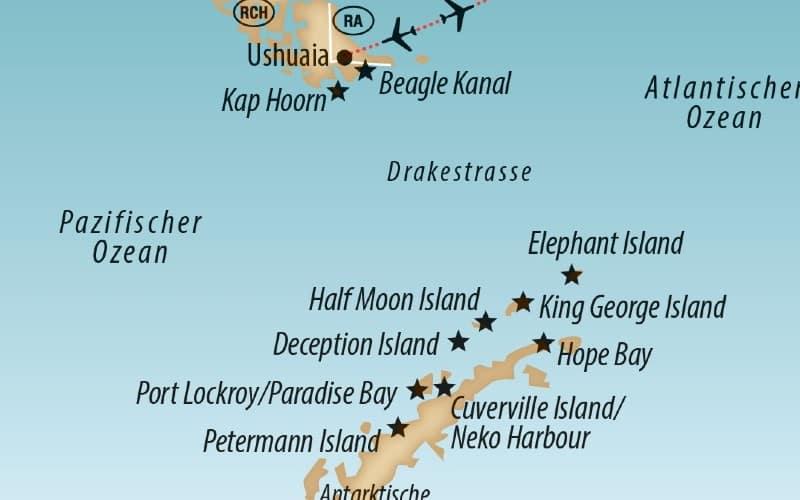 Karte Der Antarktis Mit Der Reiseroute Für Abenteuer Antarktis