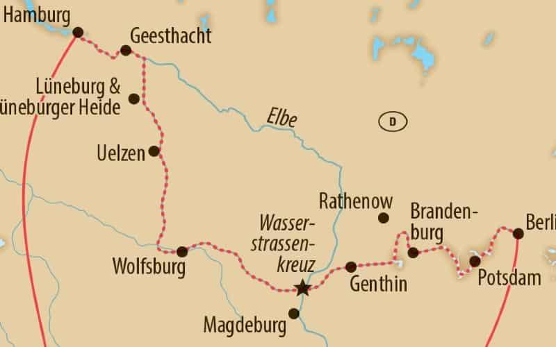 Karte Von Der Reiseroute Von Berlin Nach Hamburg