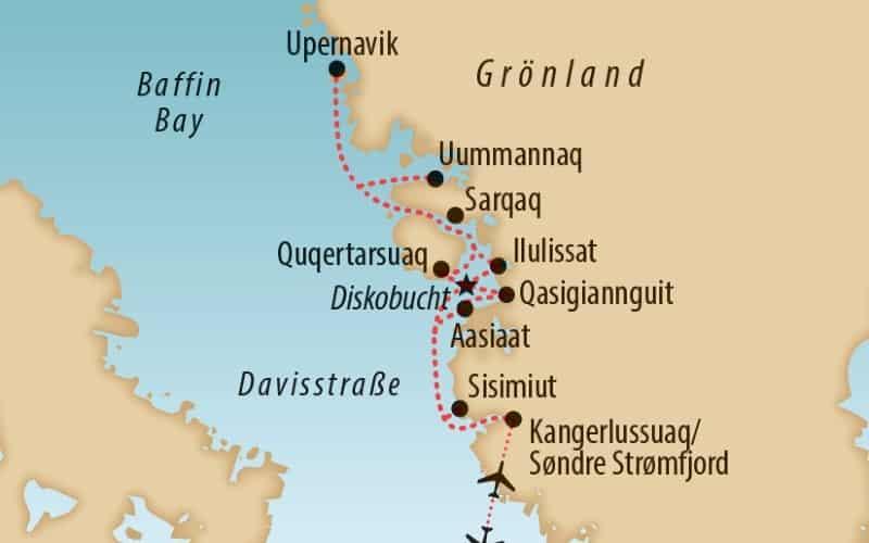 Karte Von Grönland Mit Reiseroute