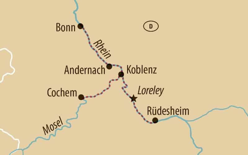 Karte Mit Der Route Der Flusskreuzfahrt Mosel Und Rhein