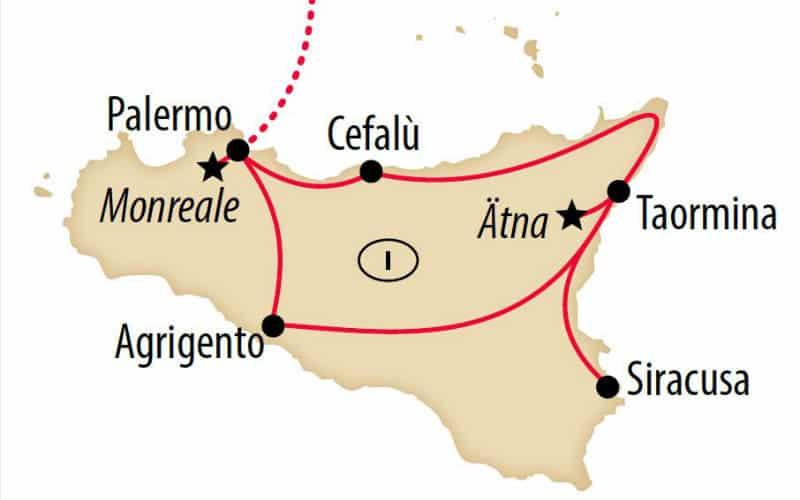 Karte Von Sizilien Mit Reiseroute Um Die Insel