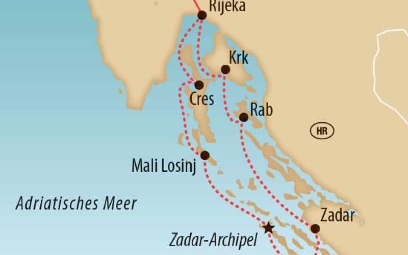 Karte Von Inseln In Kroatien Mit Der Reiseroute Der Yacht