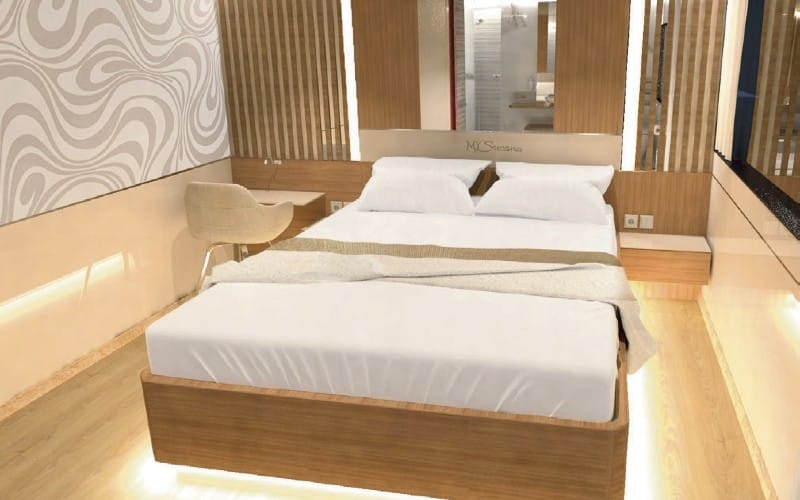 Doppelbett In Moderner Schiffskabine