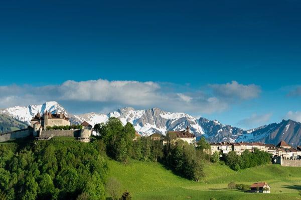 Gruyeres, VD / Switzerland - 31 May 2019: panorama view the hist