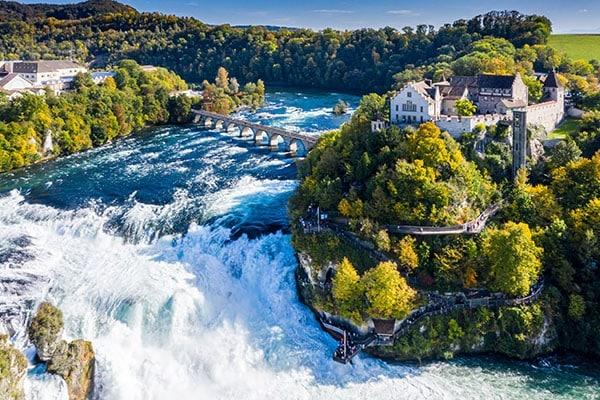 Rhine Falls or Rheinfall, Switzerland panoramic aerial view. Tou